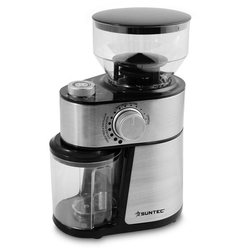 SUNTECWELLNESS SUNTEC Moulin à café KML-8540 design pro [Entonnoir d'une capacité de 200 g max. de café en grains, finesse de mouture + nombre de tasses réglables,
