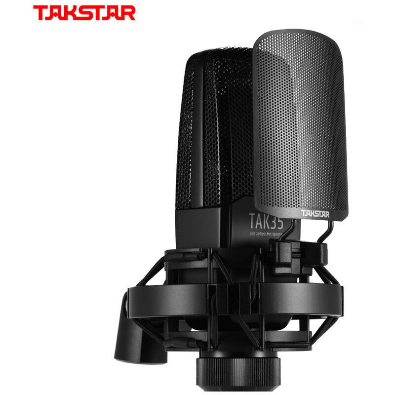 TAKSTAR TAK35 Microphone d'enregistrement professionnel Micro cardioide a condensateur avec support anti-vent en metal pour enregistrement vocal de