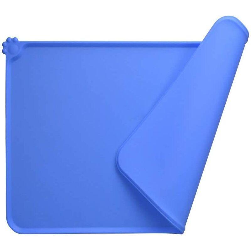 BEARSU Tapis Gamelle Chien, Tapis d'Alimentation pour Chat en Silicone aux Normes FDA, Imperméable et Antidérapant, Bleu, 47 X 30 cm