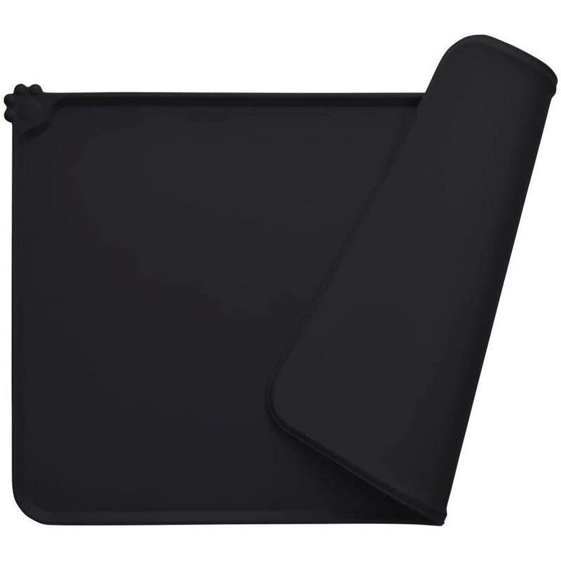 BEARSU Tapis Gamelle Chien, Tapis d'Alimentation pour Chat en Silicone aux Normes FDA, Imperméable et Antidérapant, Noir, 47 X 30 cm