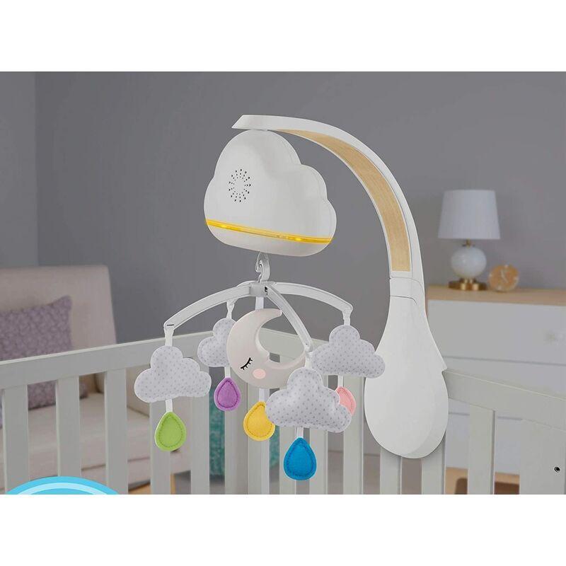 LONGZIMING Téléphone de berceau musical apaisant avec capteur de pleurs, son et lumière, peut être converti en veilleuse, dès la naissance, GRP99
