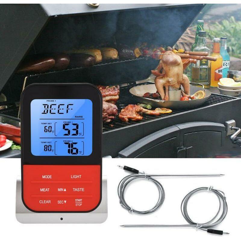 Dontodent - Thermomètre de cuisson numérique à distance sans fil, four à viande turc, grill fumoir de cuisine avec sonde, portée 300M, base argentée,