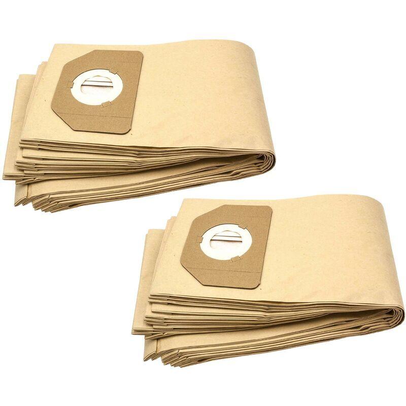 VHBW 20x sacs compatible avec Parkside (Lidl) PNTS 30/7 E, PNTS 30/8 E, PNTS 35/5, PNZS 38 aspirateur - papier, marron - Vhbw