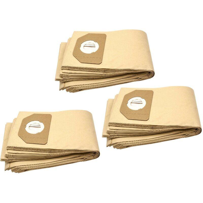 VHBW 30x sacs compatible avec Parkside (Lidl) PNTS1400/B1, PNTS1500, PNTS 30/4, PNTS 30/5, PNTS 30/6 S aspirateur - papier, marron - Vhbw