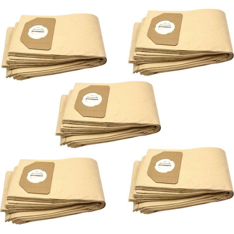 VHBW 50x sacs compatible avec Parkside (Lidl) PNTS1400/B1, PNTS1500, PNTS 30/4, PNTS 30/5, PNTS 30/6 S aspirateur - papier, marron - Vhbw