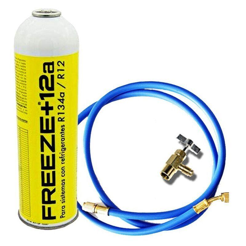 REPORSHOP 1 bouteille gel de réfrigérant écologique de gaz + 12A 420GR + Valvula + substitut Tuyau organique R12, R134A