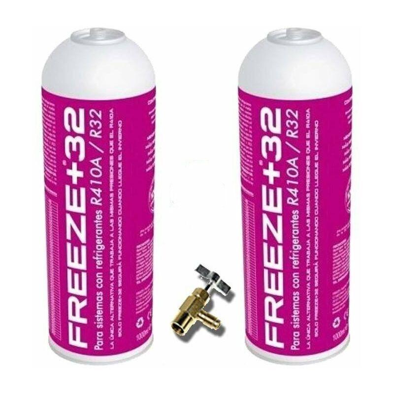REPORSHOP 2 bouteilles gaz écologique gèle de réfrigérant biologique +32 350gr + soupape de substitution R32, R410A