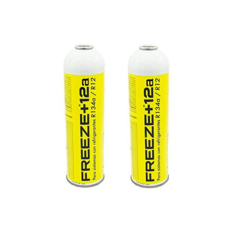 REPORSHOP 2 bouteilles gaz de réfrigérant écologique gel + 12A 420gr Substitut R12, R134A