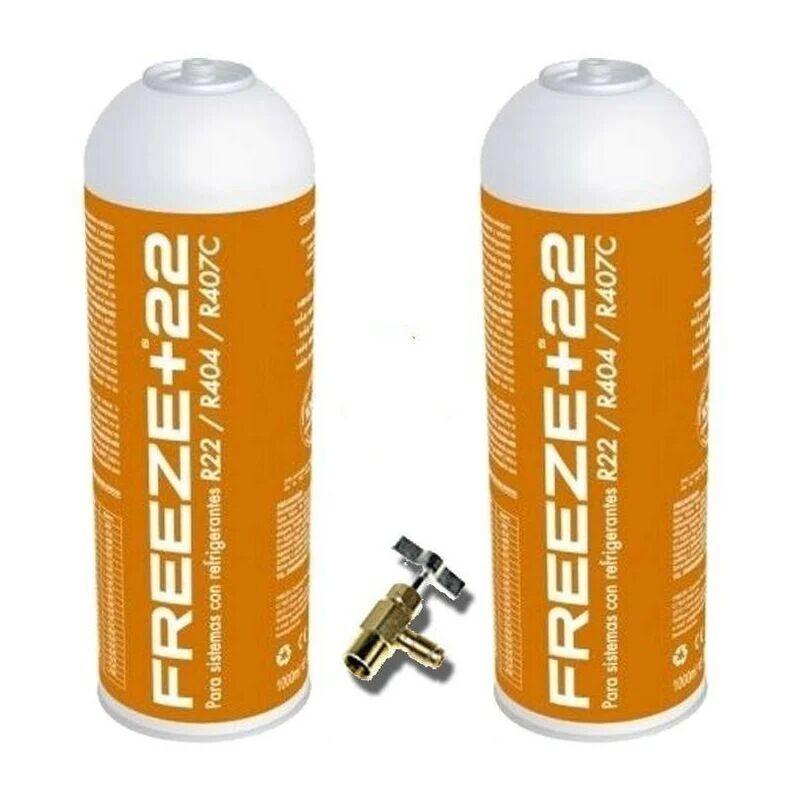 REPORSHOP 2 bouteilles Gaz de gaz écologique Freeze +22 400GR + Substitut de la vanne organique R22, R404, R407C