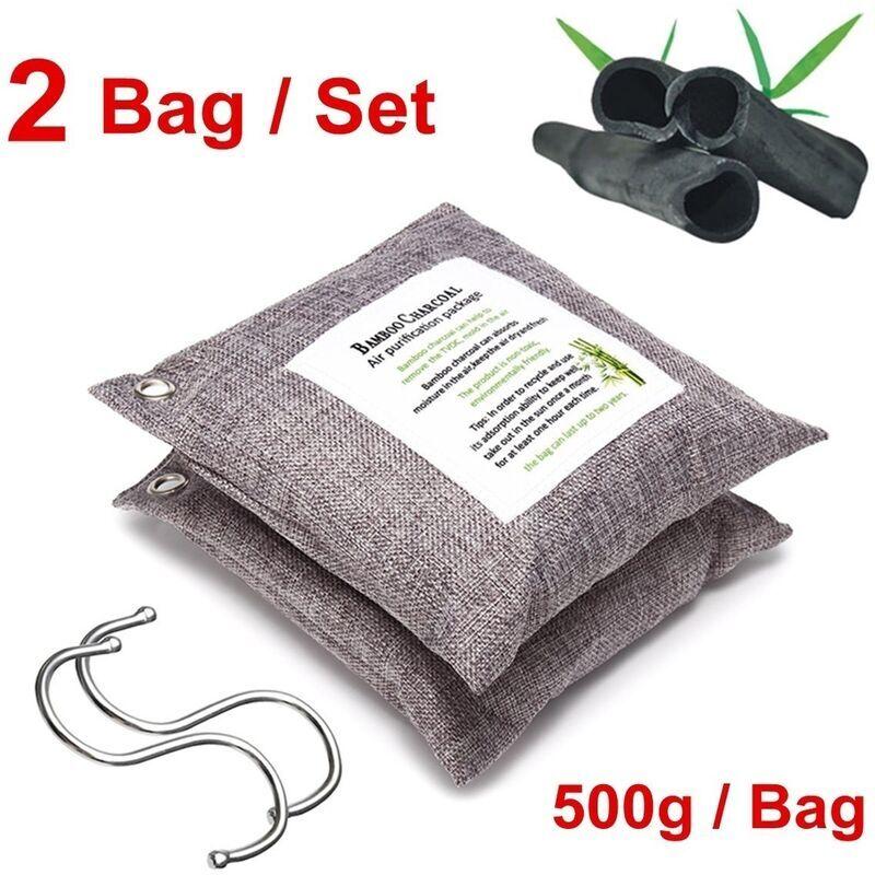MANTA 2 pièces sac purificateur d'air naturel voiture maison 500g déshumidificateur de charbon de bambou dissolvant d'odeur 2 sacs / ensemble