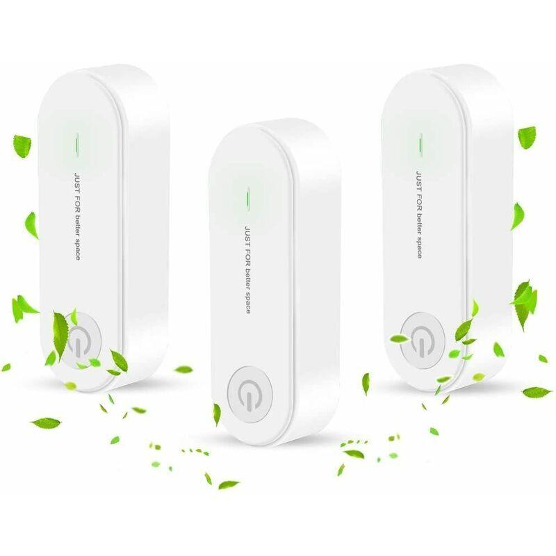 BRIDAY 3 Pièces Mini Purificateur d'Air portatif enfichable, ioniseur purificateur d'air Maison, Ultra Silencieux, jusqu'à 60 m², pour animaux de compagnie