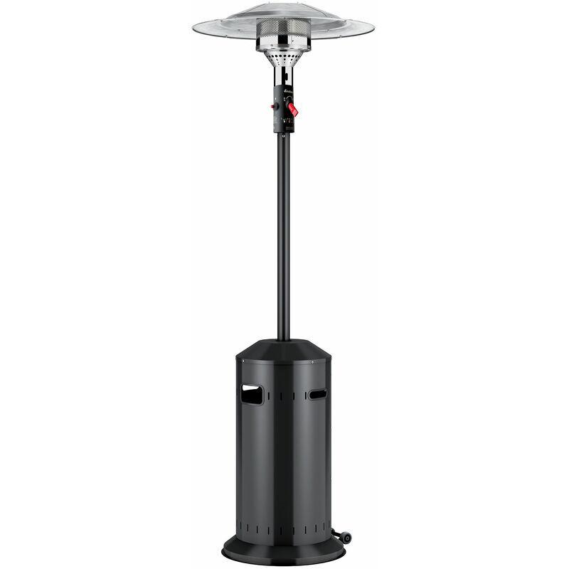 FAVEX Cosy Elégance Noir Ecoline - Parasol chauffant d'extérieur à gaz - Prêt à l'emploi livré avec tuyau et détendeur - 3 à 8 KW - 12 m² - Favex