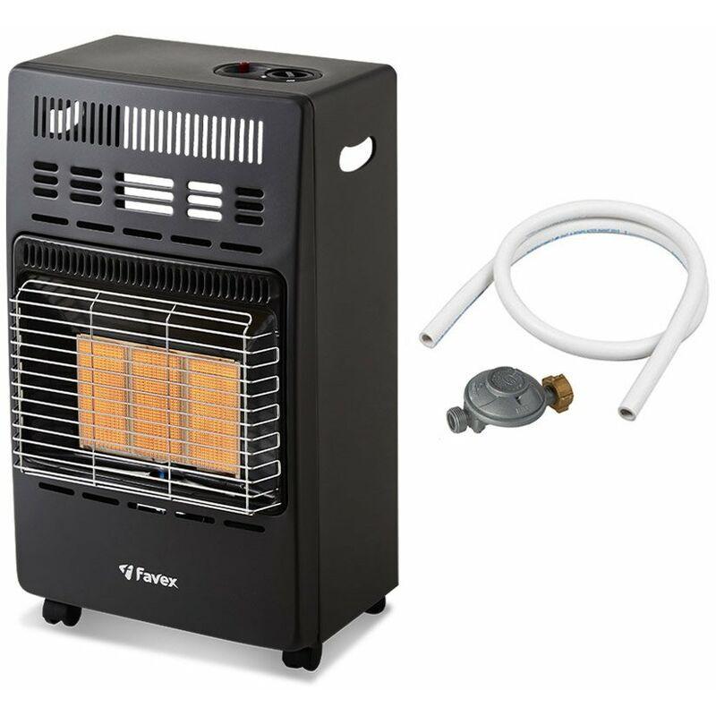 Favex - Chauffage d'appoint gaz 4200 - Prêt à l'emploi livré avec Tuyau et détendeur-Intérieur-Brûleur céramique Infrarouge-3 Puissances de