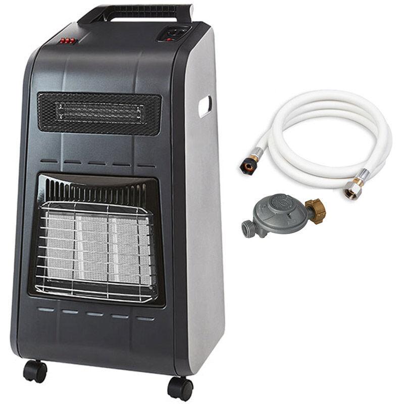 FAVEX Chauffage d'appoint bi énergie gaz et électrique Horten - Prêt à l'emploi livré avec tuyau et détendeur - Brûleur Céramique Infrarouge et chaleur