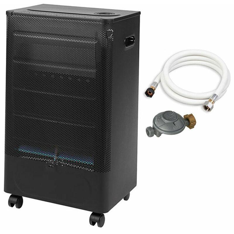FAVEX Chauffage d'appoint à gaz Praha Blue Flame - Prêt à l'emploi livré avec tuyau et détendeur - Intérieur - Brûleur Inox Infrableu - 3 Puissances de