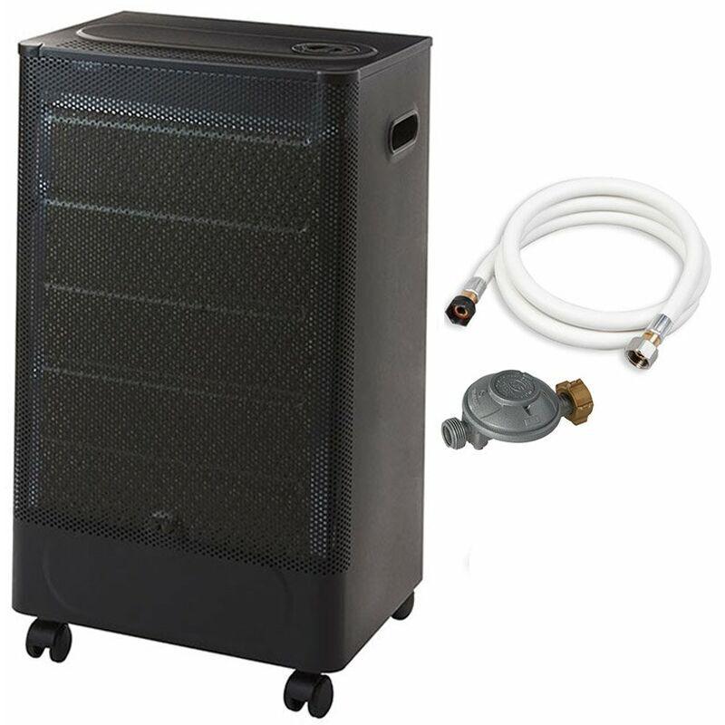 FAVEX Chauffage d'appoint à gaz Riga Catalyse - Prêt à l'emploi livré avec tuyau et détendeur - Intérieur - Brûleur Céramique Catalyse - 3 Puissances de