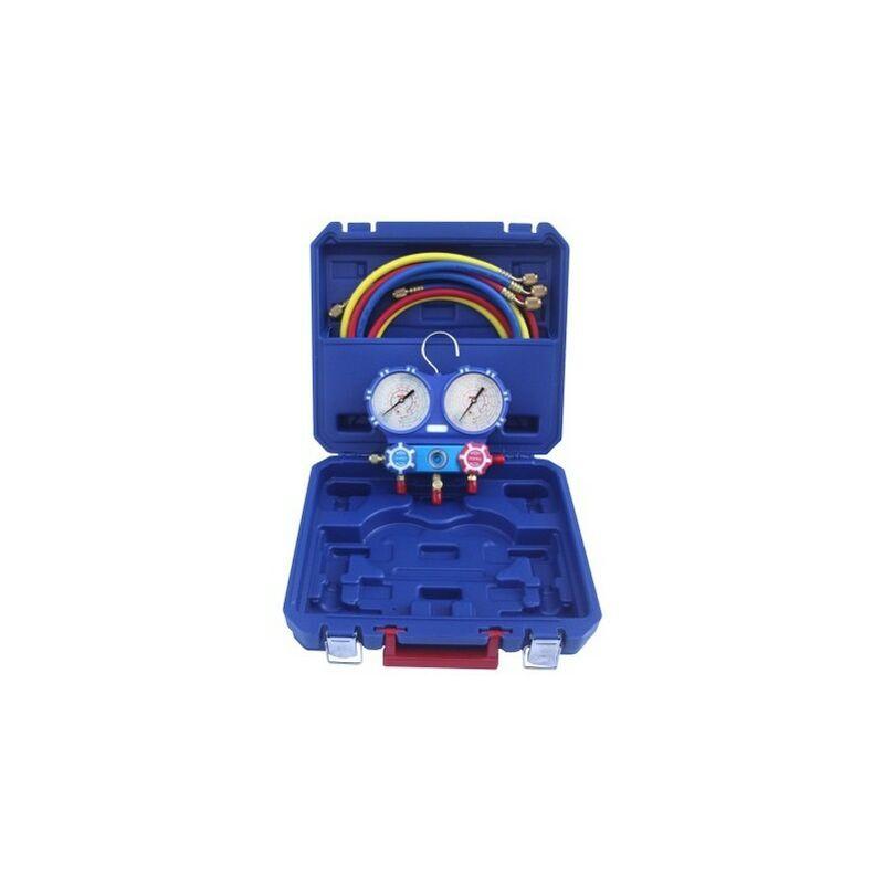 REPORSHOP Analyseur Manomètre Maleletin 2 Vas 80mm Gaz R410A, R134A, R407C, Glycérine Manomètre R22