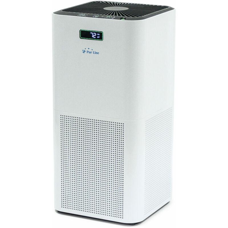 PURLINE Purificateur d'air avec filtre HEPA, charbon actif et catalyseur froid et ioniseur pour 60 m² - Blanc