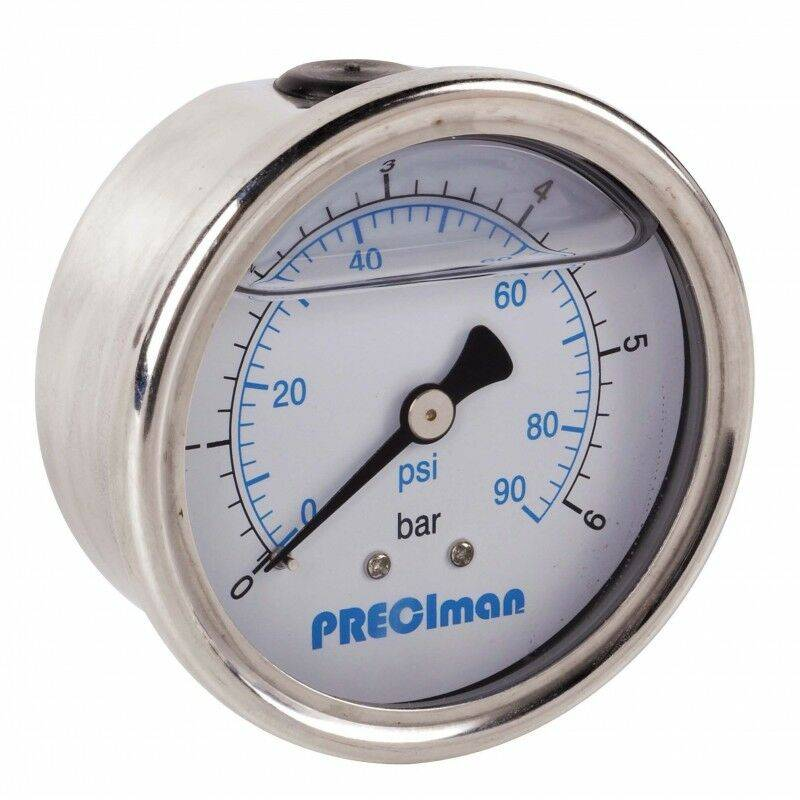 Preciman - Manomètre glycérine inox axial D50 0/12bar G1/4'