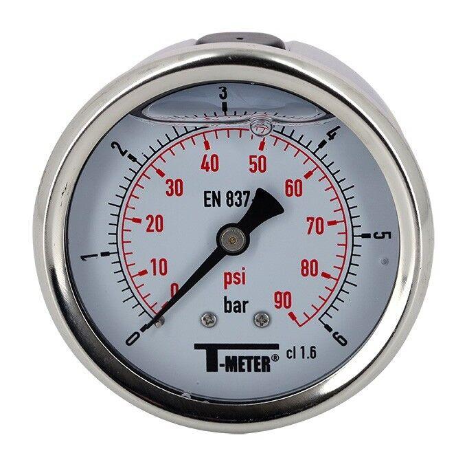 T-METER Manomètre à bain de glycérine 0-6 bars - Ø63 - Axial de T-meter