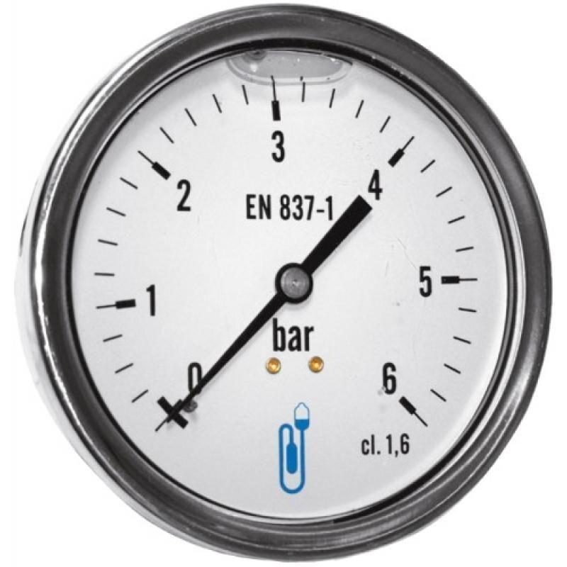 DISTRILABO Manomètre boîtier inox glycérine radial 6 bars Ø 63