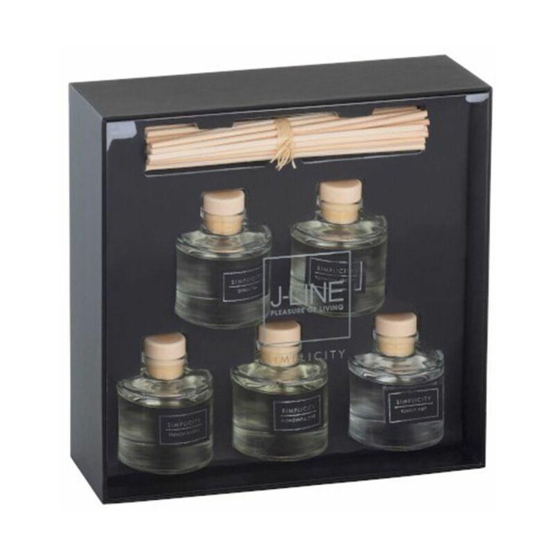 PARIS PRIX Coffret 5 Huiles Parfumées & Bâtonnets simplicity 22cm Noir & Argent - Paris Prix