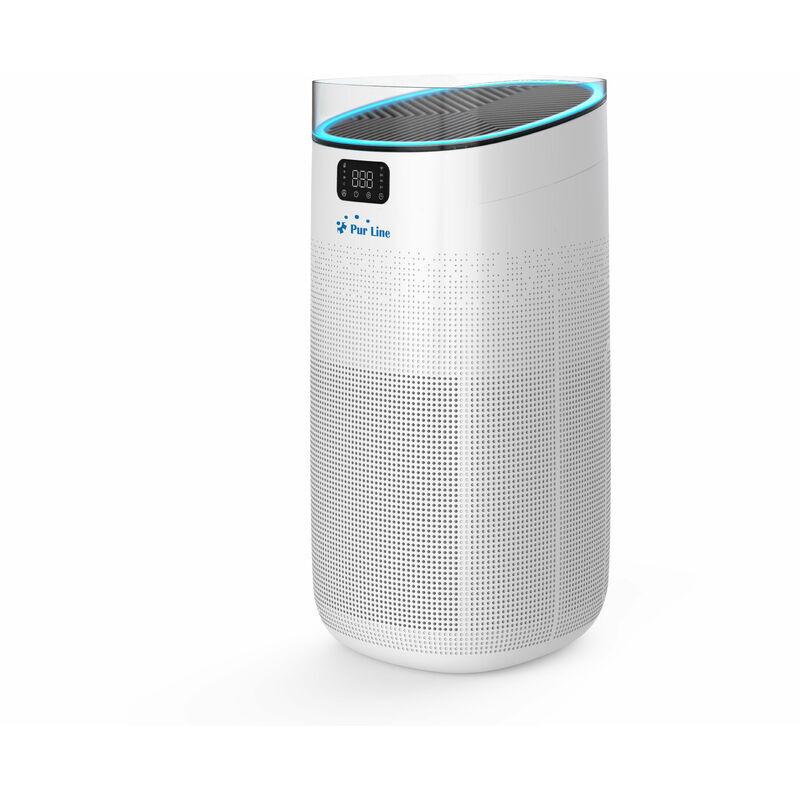 PURLINE Purificateur d'air avec filtre HEPA, filtre à charbon actif et ioniseur contrôlé par WIFI - Blanc