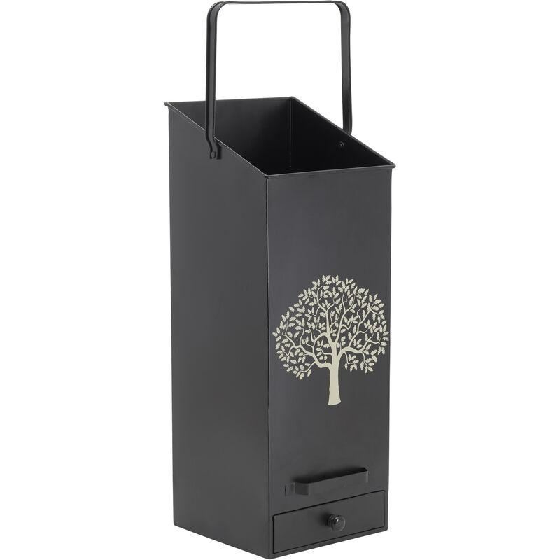 AUBRY GASPARD Seau à pellets en métal métal noir arbre - Métal noir Arbre