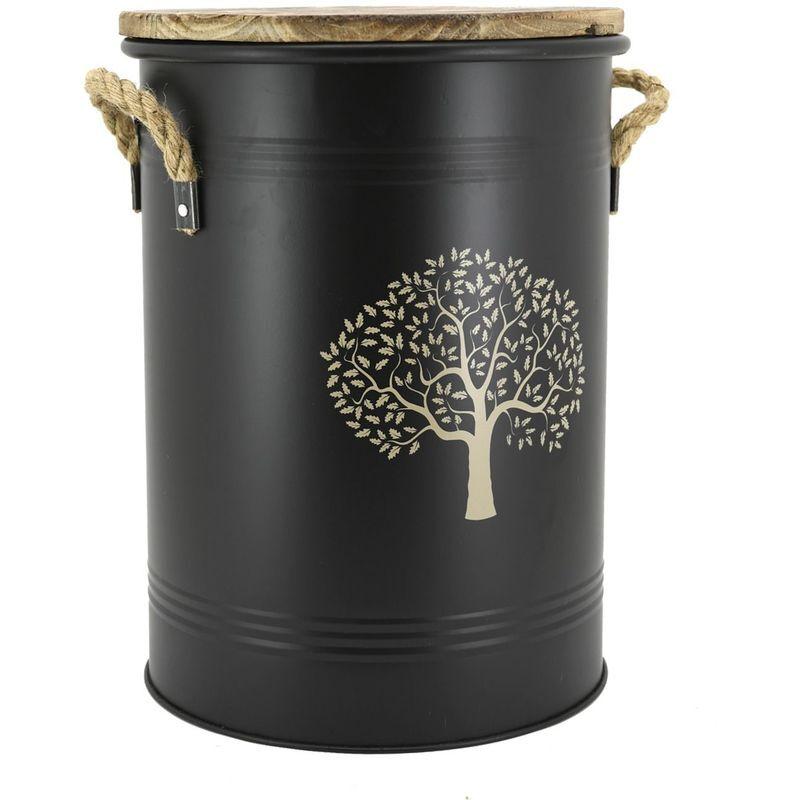 AUBRY GASPARD Tabouret et seau à pellets métal laqué arbre - Métal laqué Arbre