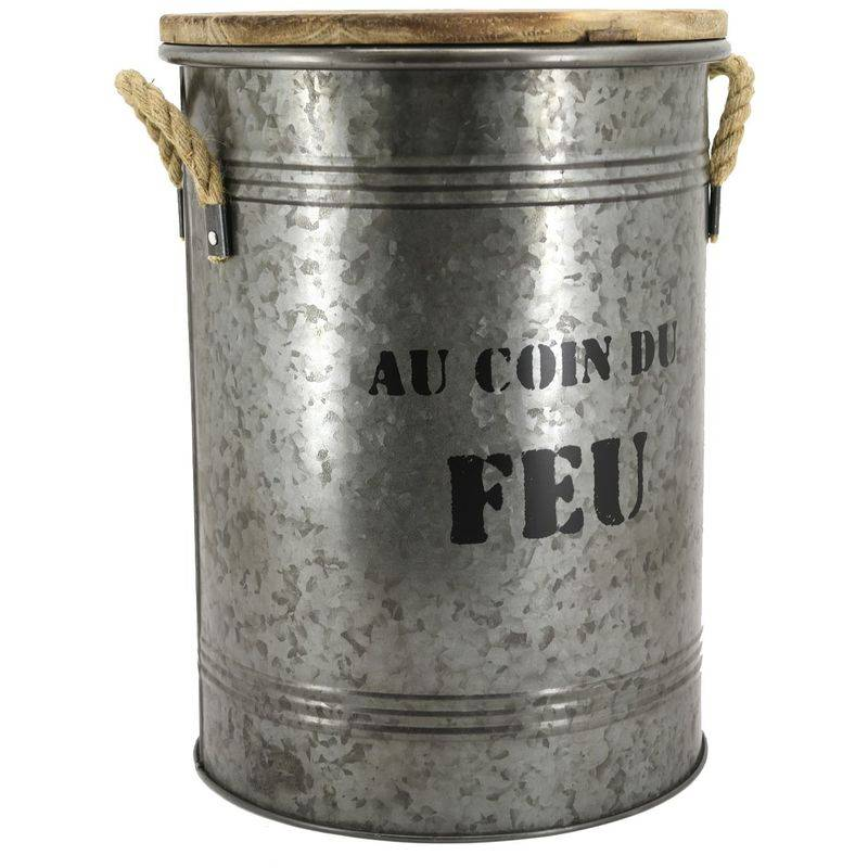 AUBRY GASPARD Tabouret et seau à pellets métal galvanisé au coin du feu - Métal galvanisé Au coin du feu