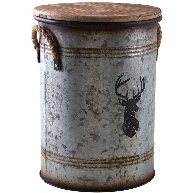 AUBRY GASPARD Tabouret et seau à pellets métal galvanisé cerf - Métal galvanisé Cerf