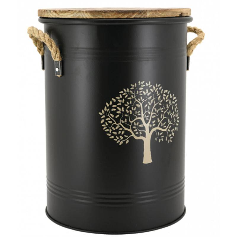 PEGANE Tabouret et seau à pellets en métal noir motif Arbre - ø.35 x h.45 cm -PEGANE-