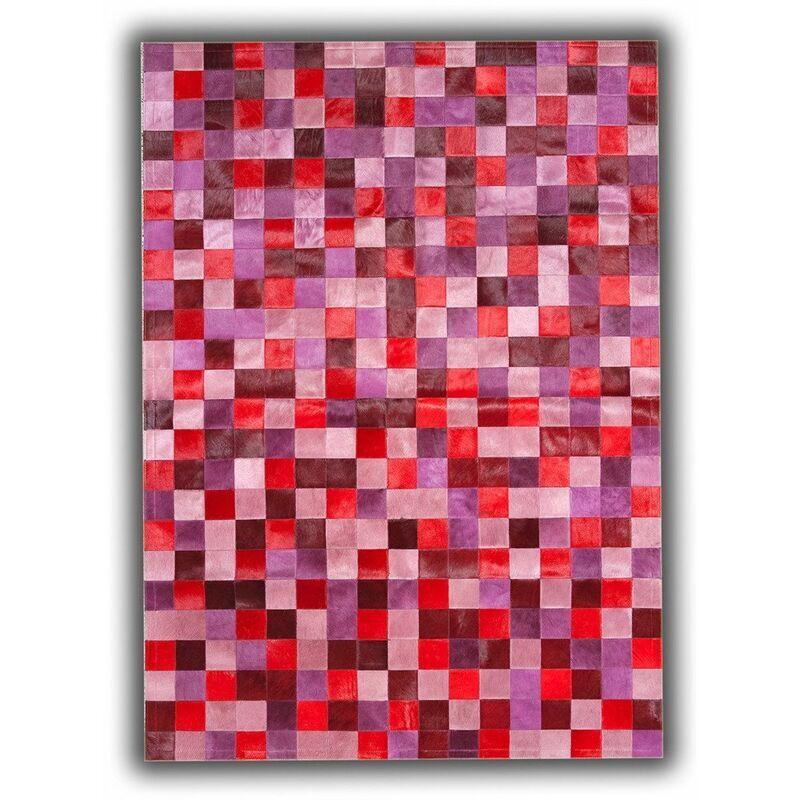 ALLOTAPIS Tapis en cuir naturel patchwork rose design Toledo Rose 120x180 - Rose