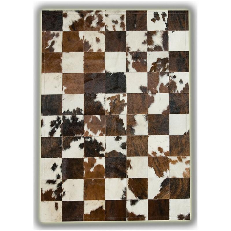 ALLOTAPIS Tapis en peau de vache Normande sans bord patchwork Sabadell Beige 140x200 - Beige