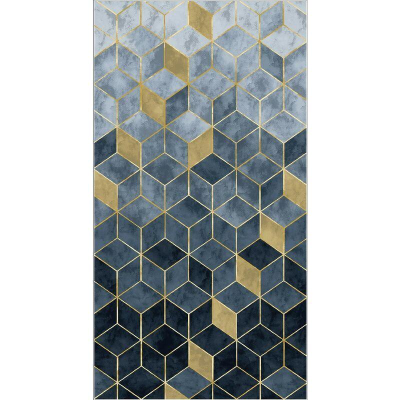 HOMEMANIA Tapis Imprime 3D 1 - Geometrique - Decoration de Maison - Antiderapant - Pour Salon, sejour, chambre a coucher - Multicolore en Polyester, Coton, 140