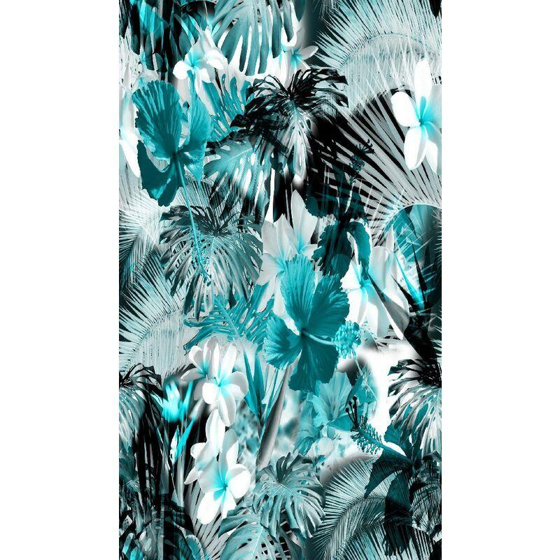 HOMEMANIA Tapis Imprime Blue Jungle 1 - Nature - Decoration de Maison - Antiderapants - Pour Salon, sejour, chambre a coucher - Multicolore en Polyester,