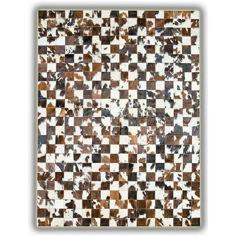 ALLOTAPIS Tapis sans bord patchwork en peau de vache Normande Pampelune Beige 120x180 - Beige