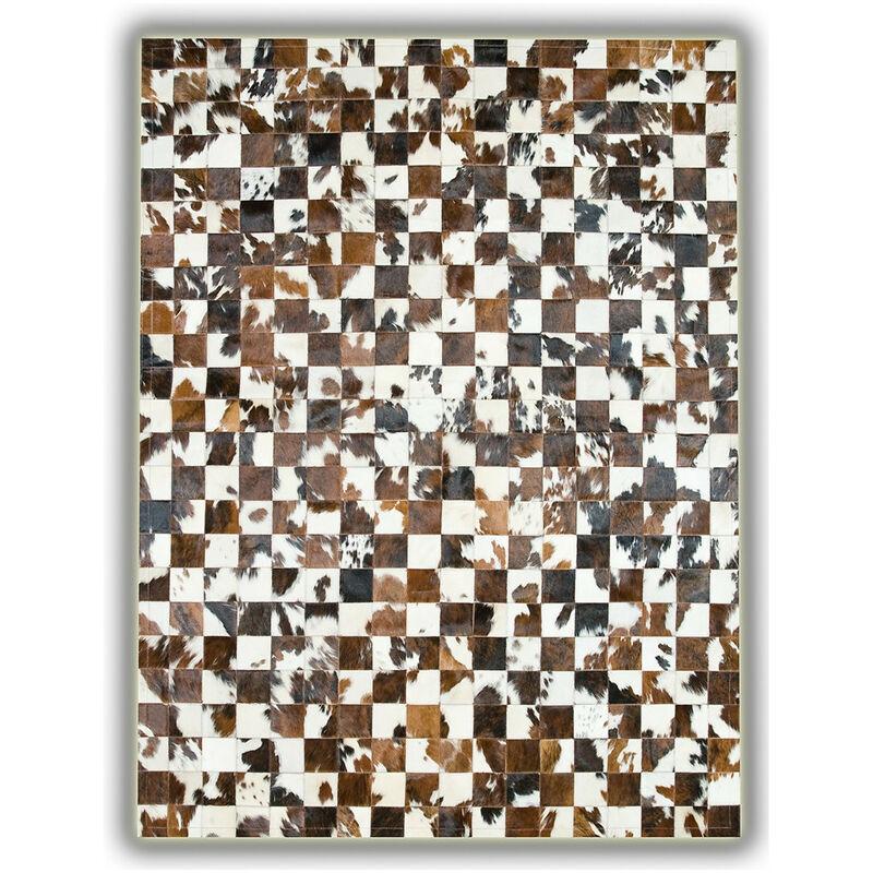 ALLOTAPIS Tapis sans bord patchwork en peau de vache Normande Pampelune Beige 180x240 - Beige