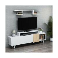Homemania - Lara Meuble TV avec etageres, portes, tablettes - du salon -Blanc, Chene en Bois, 161 x 29,5 x 58 cm <br /><b>120.90 EUR</b> ManoMano