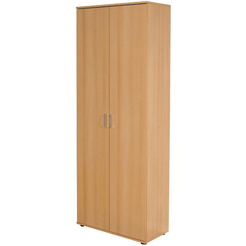 Pegane - Armoire avec étagères Vetra de 2 portes décor hêtre, 70 x 34 x 189 cm