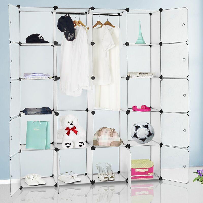 DEUBA Armoire étagère modulable en plastique blanc 12 casiers Penderies Rangement
