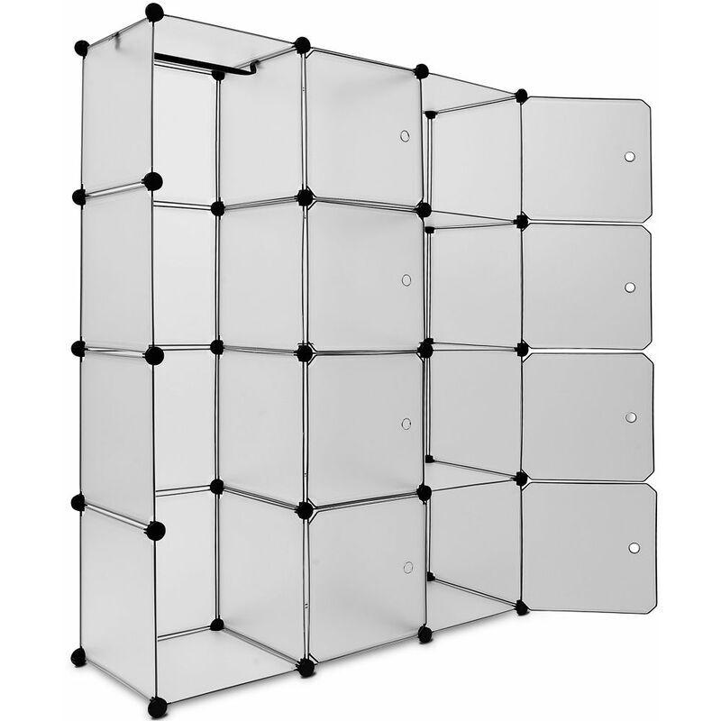 DEUBA Étagère Armoire Plastique Transparent 12 ou 20 casiers 1000L ou 600L 4 Coloris 600L, Blanc