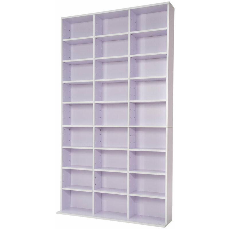 Helloshop26 - Armoire étagère rangement CD / DVD meuble de rangement pour 1 000 CDs blanc/violet - Blanc