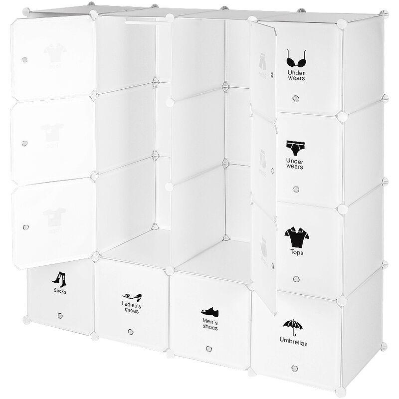 YONGQING Armoires Etagères Plastiques - Penderie Plastiques, Meuble Rangement 16 Cubes Modulables + 1 Tige de suspension, Blanc - Blanc