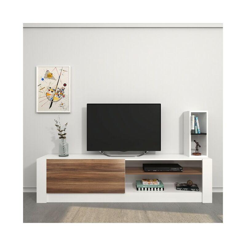 Homemania - Meuble TV Gomez - avec des etageres - Salon - Blanc, Bois en Panneau de melamine, 180 x 30 x 43 cm
