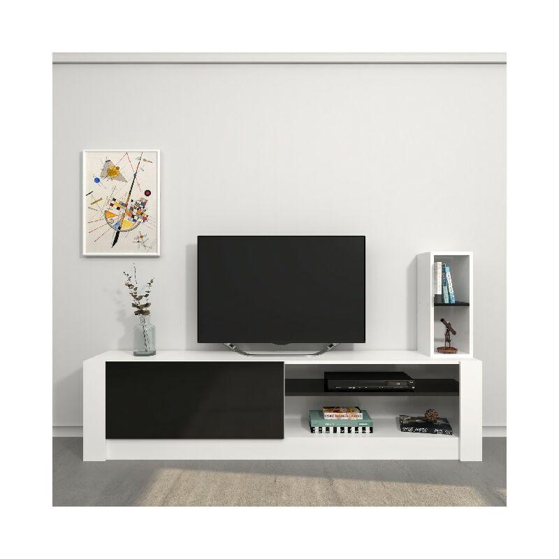 Homemania - Meuble TV Gomez - avec des etageres - Salon - Blanc, Noir en Panneau de melamine, 180 x 30 x 43 cm