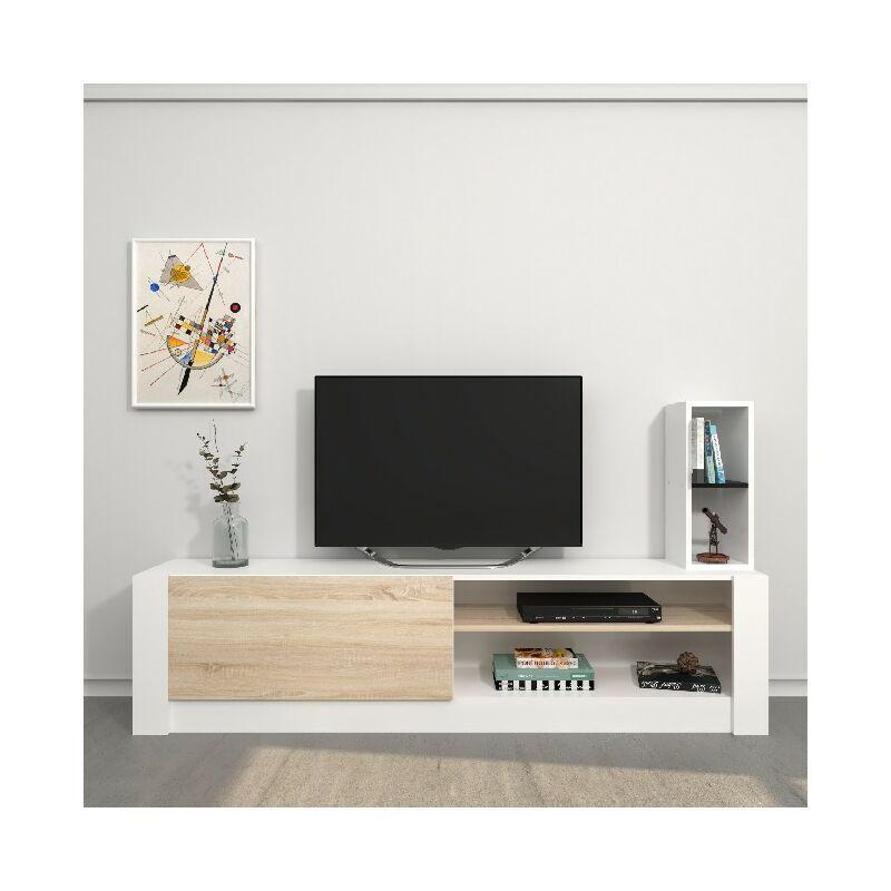 Homemania - Meuble TV Gomez - avec des etageres - Salon - Blanc, Sonoma en Panneau de melamine, 180 x 30 x 43 cm