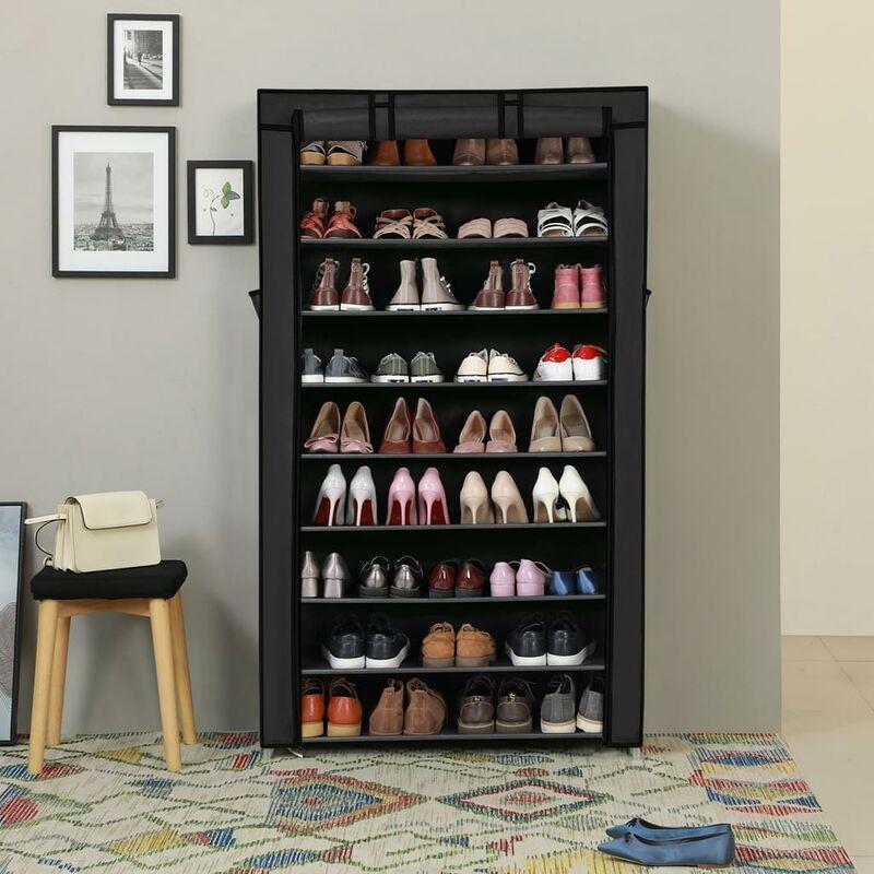 Songmics - Armoire étagères à chaussures XXL 10 couches 45 paires de chaussures avec housse 88 x 28 x 160cm Noir RXJ36H - Noir