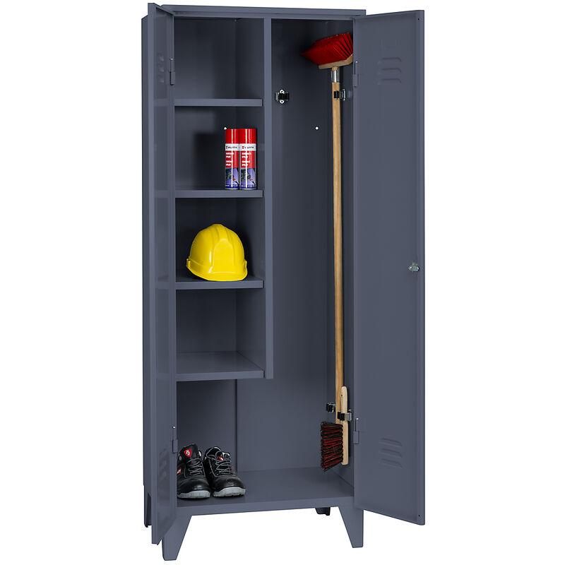 Certeo - Wolf Armoire métallique - armoire de ménage sur pieds - gris bleu RAL 7031 - Coloris corps: bleu-gris RAL 7031