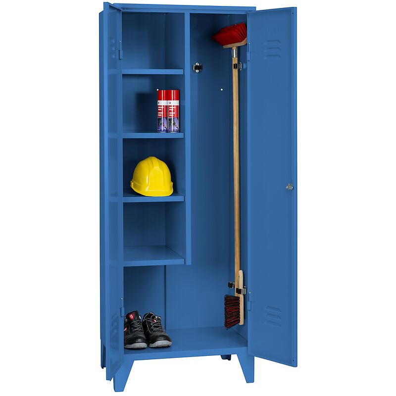 Certeo - Wolf Armoire métallique - armoire de ménage sur pieds - bleu clair RAL 5012 - Coloris corps: bleu clair RAL 5012